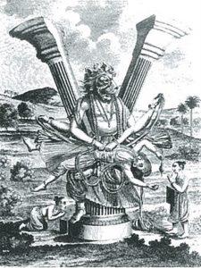 柱から現れ、膝の上でヒラニヤカシプを引き裂くナラシンハ