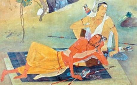 カルナの膝で眠るパラシュラーマ