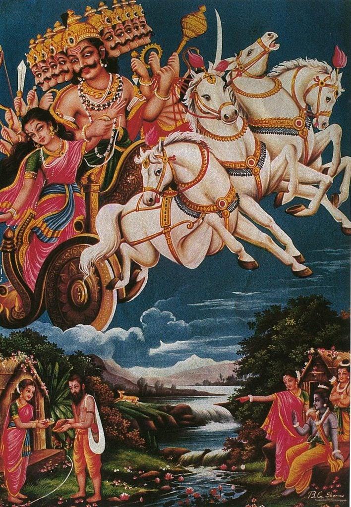 6シーターをさらうラーヴァナ(出典:長谷川 明 著「インド神話入門 (とんぼの本)」新潮社)