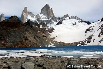 氷河湖とフィッツロイ